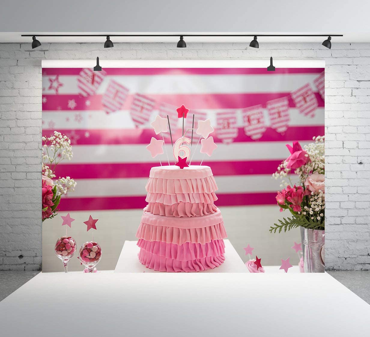 Cartoon Pink Cake Photography Background Sweet 6th Happy Birthday Backdrop Kids Children Birthday Party Celebration Cake Party Photo Booth Background Props 7x5FT E00T9128
