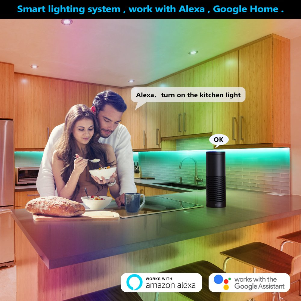 Nexlux LED Strip Lights, WiFi Wireless Smart Phone Controlled Light Strip LED Kit 5050 LED Lights,Working with Android and iOS System,Alexa, Google Assistant by Nexlux (Image #5)