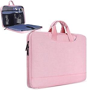 15.6 Inch Bussiness Briefcase Laptop Case Bag for Women Fit Acer Chromebook 15/Aspire E15/Acer Predator Helios 300, Lenovo IdeaPad/ThinkPad/Flex 5,Asus Vivobook/Zenbook/TUF(Pink)