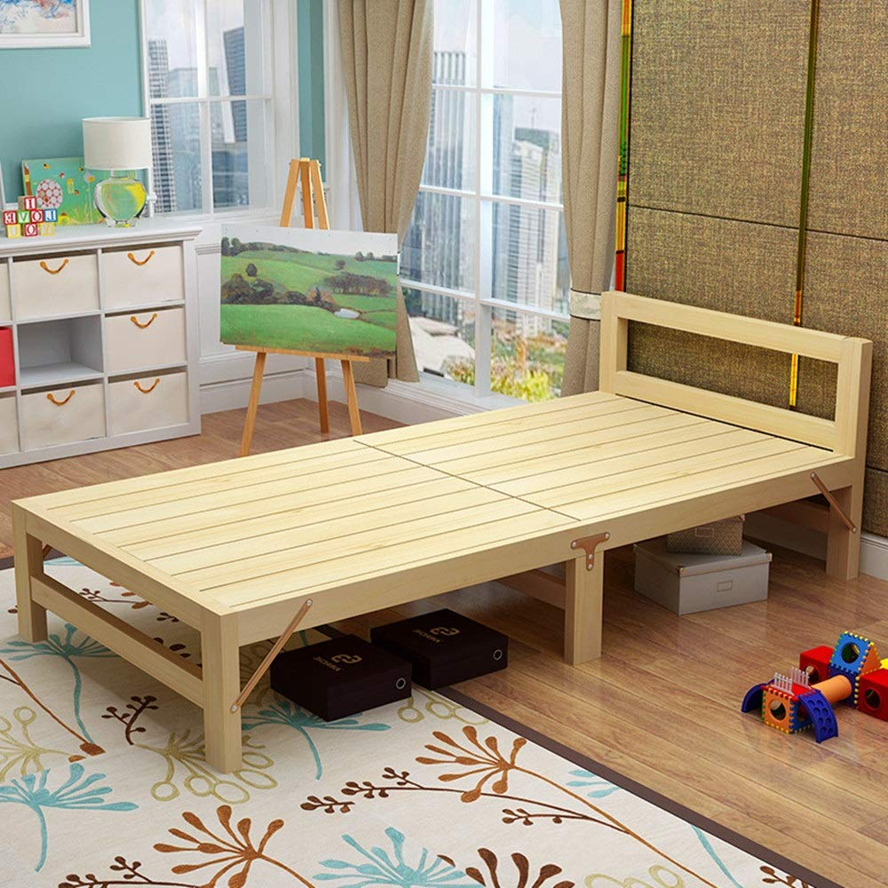 Vobajf Klappbett Kinder aus Holz Klappbett mit Matratze Einzelbett Multifunktionsgästebett Tragbare Side Bed Easy for Home to Falten Bettrahmen (Farbe : Natural, Size : 200X60cm)