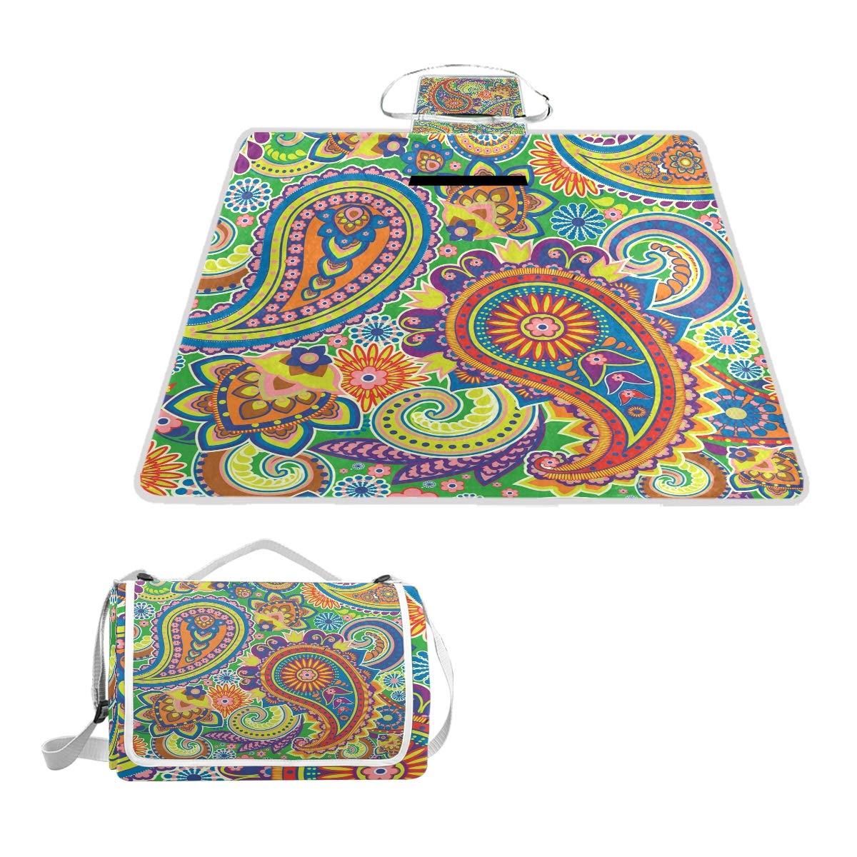 Anyangquji Seamless Pattern Based On Traditional Asian Elements Paisley Picnic Blanket 57''x59''