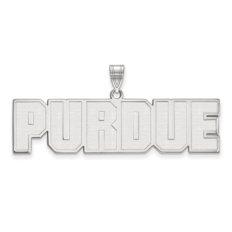 925 Sterling Silver Rhodium-plated Laser-cut Purdue University Large Pendant