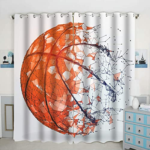 QH Silhouette of A Basketball Ball Window Curtain Panels Blackout Curtain Panels Thermal Insulated Light Blocking 42W x 84L inch Set of 2 Panel