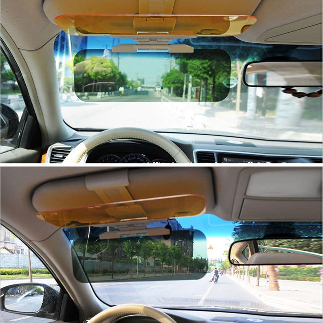 Andux Zone voiture 2/en 1/Transparent anti-riflesso Vetro voiture soleil Visi/ère par jour /& nuit Di Guida qc-fxj01