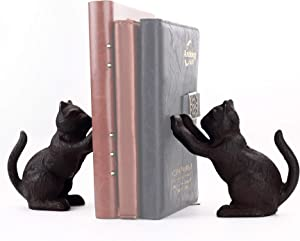 Ambipolar Decorative Cat Theme Bookend, Heavy Duty Cast Iron, Vintage Shelf Decor, Antique Black, T3-66