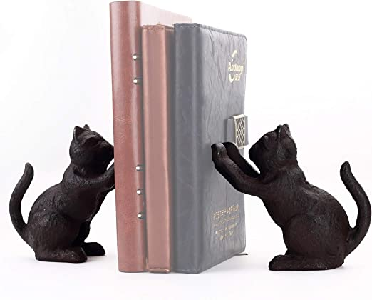 Ambipolar Cat Decorative Bookend, Heavy Duty Cast Iron, Vintage Shelf Decor, Antique Black, T3-66