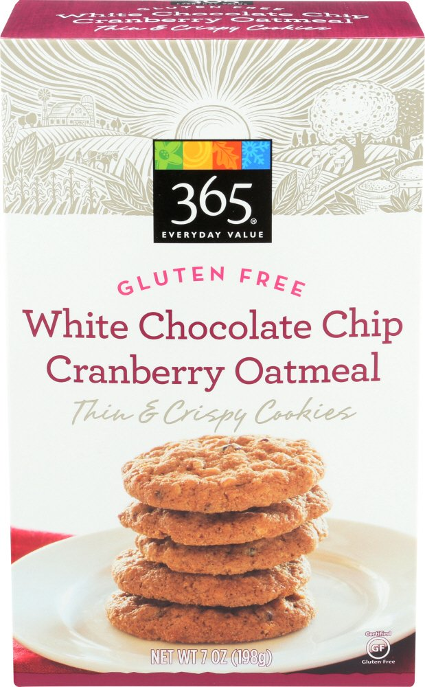 Gluten Free White Chocolate Chip Cranberry Oatmeal Thin & Crispy Cookies,
