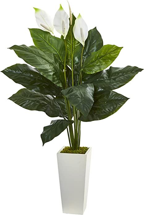 Amazon Com Nearly Natural Artificial Green 1 51 Spathiphyllum Plant In White Tower Planter Home Kitchen