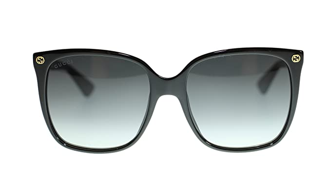 e2790e15863 Image Unavailable. Image not available for. Colour  Gucci Women Square  Sunglasses GG0022S 001 Black Grey Lens 57mm Authentic