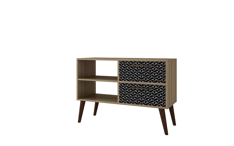 Charcoal White Manhattan Comfort 3AMC163 Dalarna Small Mid-Century 2 Drawer TV Stand, Peach Teal