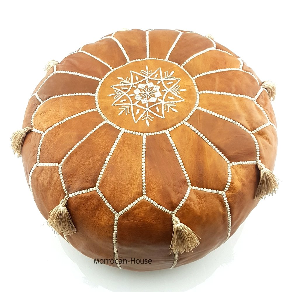 LIMITED EDITION Moroccan Leather Pouf Best offer ,100% handmade Ready to magic your living room! by Moroccan-House (Image #2)