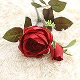 Dragon868 Rose Künstliche Gefälschte Blumen Königliche Rosen Floral Hochzeit Bouquet Party Wohnkultur (Rot, Künstliche Blume)