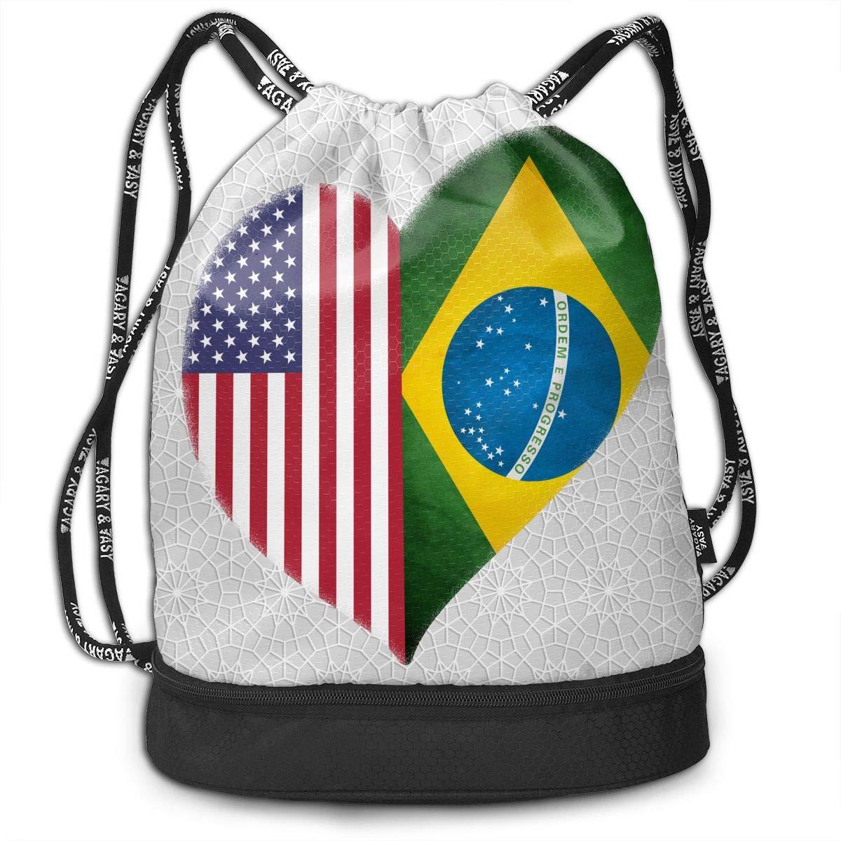 Heart Brazil American Flag Drawstring Bag Multifunctional String Backpack Custom Cinch Backpack Sport Gym Sack