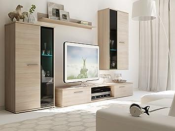 Wohnwand BINGO Anbauwand Schrank Möbel Wohnzimmer Modernes Design Matt  Sonoma (Korpus: Sonoma / Front