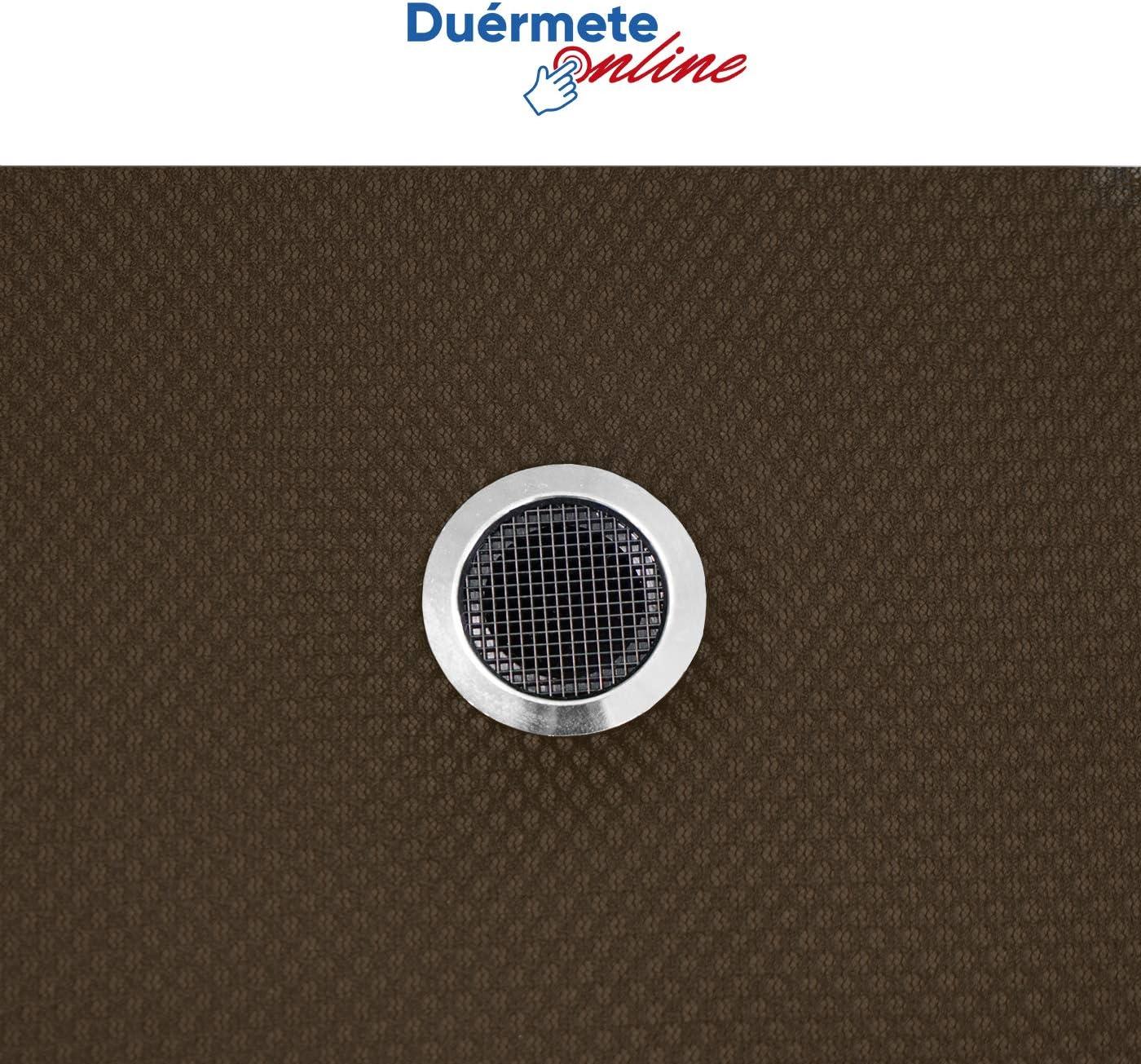 Du/érmete Online Pack Ahorro Colch/ón Viscoel/ástico Lite Reversible Color Chocolate Base Tapizada 3D Reforzada 5 Barras de Refuerzo y V/álvulas de Ventilaci/ón con 6 Patas 80x180