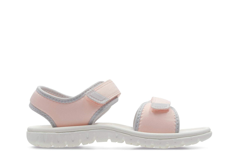 Clarks Surfing Tide Kid Textile Sandals in Pink