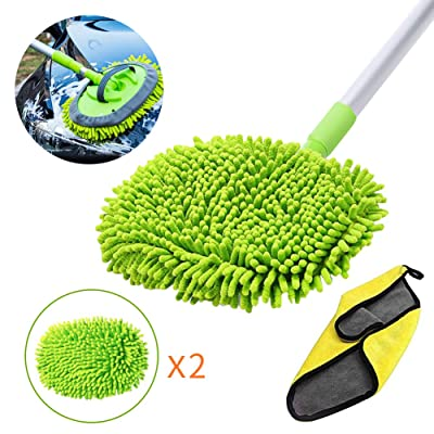 GES 2 in 1 Car Wash Mop Mitt with Long Handle, Chenille Microfiber Car Wash Brush Extension Pole 24-46In, Scratch Cleaning Tool for Car, Truck, RV, Total 2Pcs Mop Head and 1Pcs Car Cleaning Towels: Automotive [5Bkhe1006305]