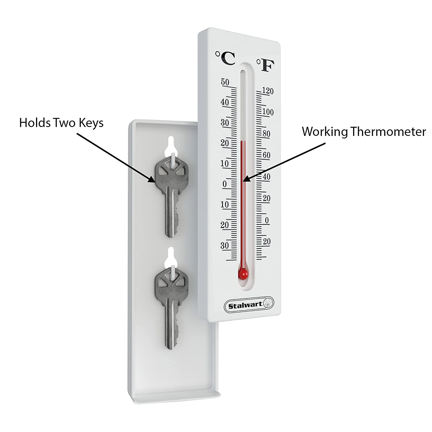 Hide a Key for House Car Temperature Reading Indoor and Outdoor Working Wall Mount Thermometer with Key Storage by Stalwart and Safe Keys