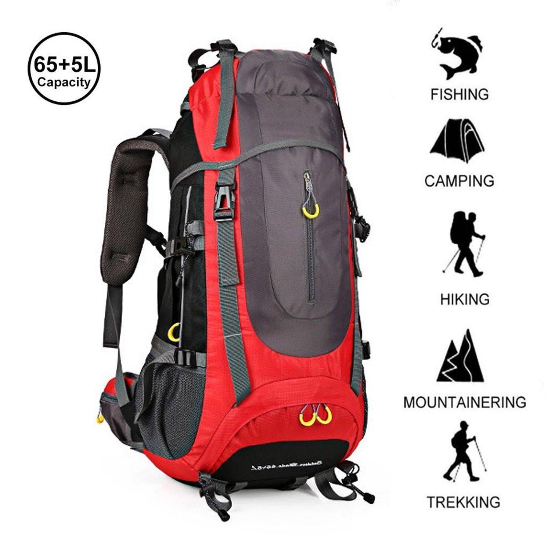 81450dabfd96 Amazon.com : ZOUQILAI 70L (65 + 5) Outdoor Hiking Camping Backpack ...