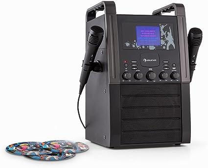 auna KA8P-V2 BK - Set Karaoke para niños con Pack CDs , Reproductor Karaoke , 2 micrófonos , Altavoces , Reproductor CD+G , Pantalla TFT , Salida Video , Negro: Amazon.es: Electrónica