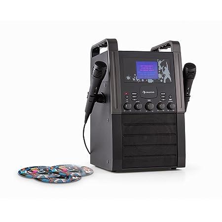 auna KA8P-V2 BK • Karaoke Anlage • Kinder Karaoke Player • Karaoke Set • 3 x Karaoke-CD • 2 x Mikrofon • Lautsprecher • Video