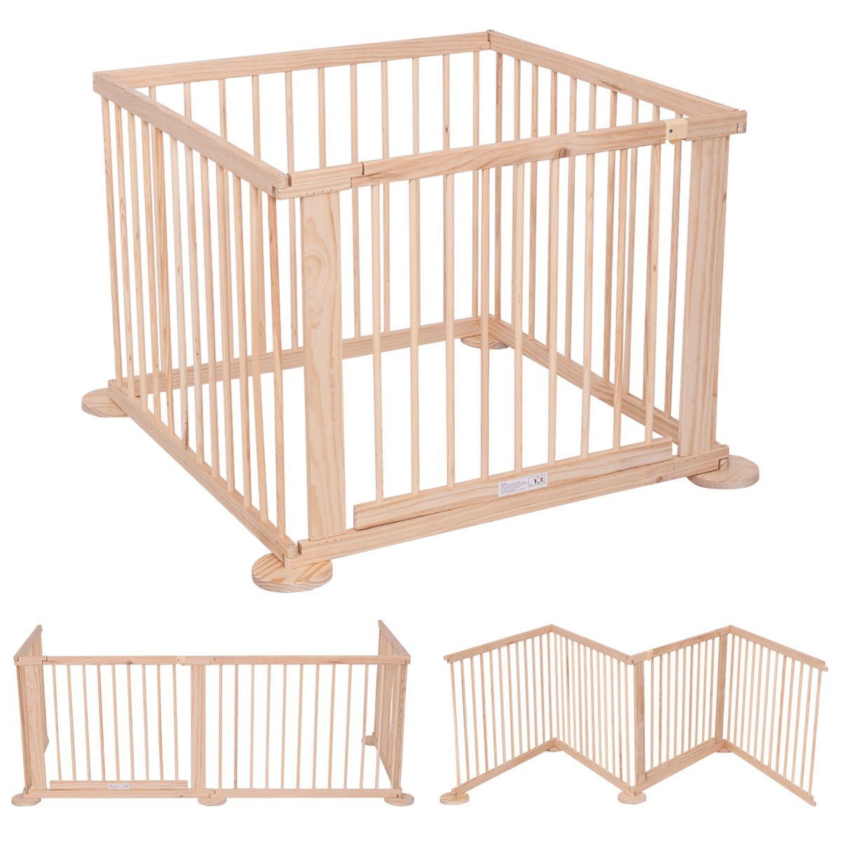 Kids Wooden Playpen Natural Pine Wood 4 Side Baby Child Wooden Foldable Play Pens Divider Heavy Duty with Safety Lock WAF