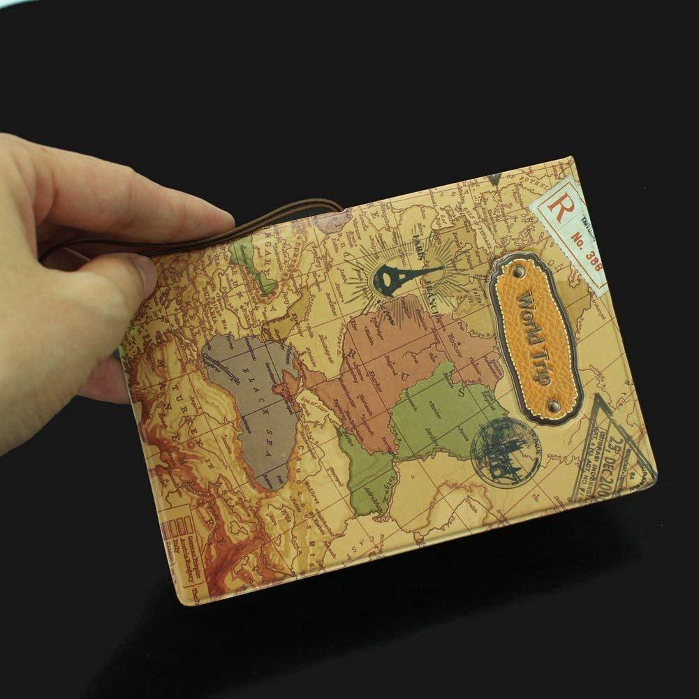 Weltkarte Passport Holder PU Leder Reisepass H/ülle Vintage Schutzh/ülle ID Karten Ordner