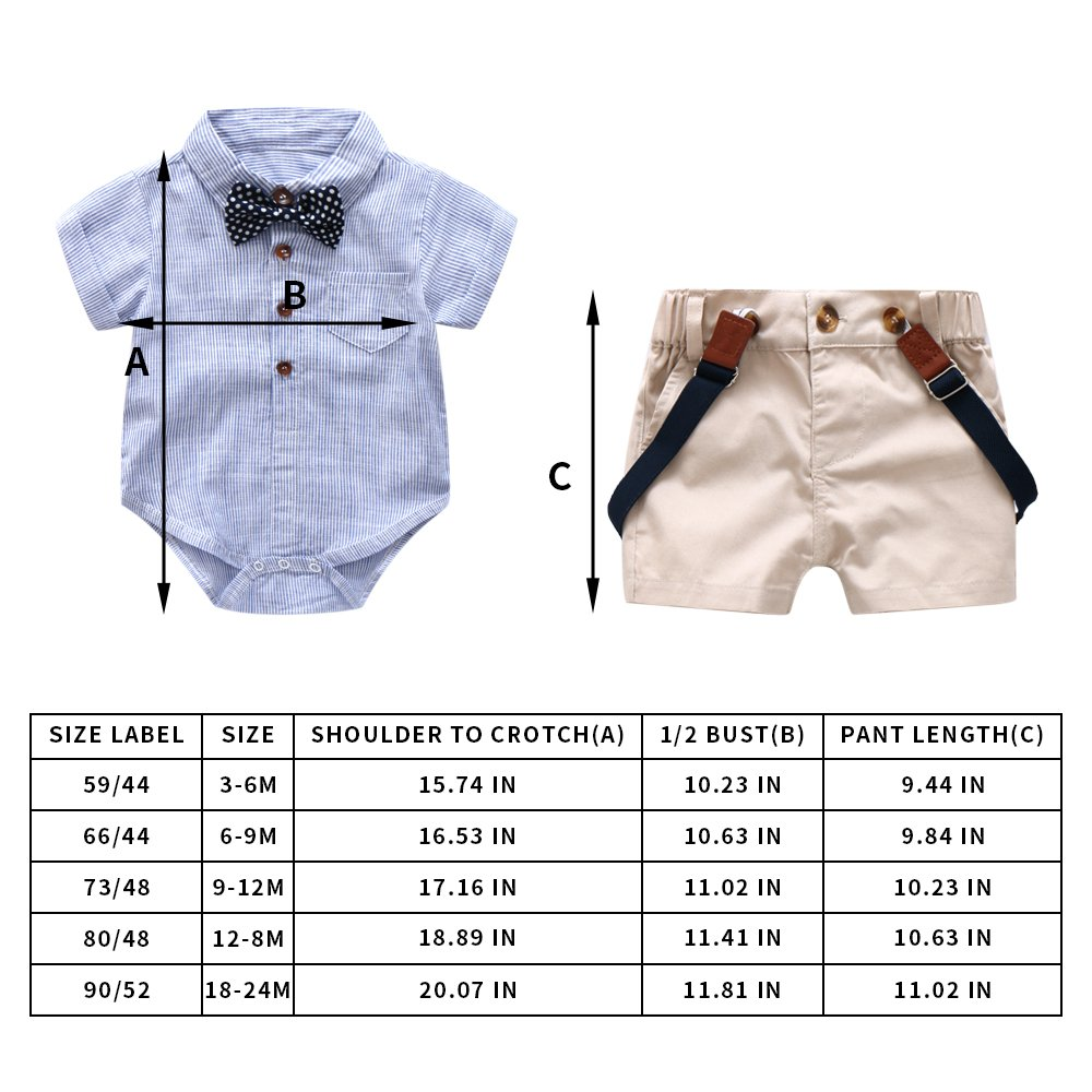 Baby Boys Gentleman Outfits Suits Infant Blue Shirt+Bib Shorts+Tie+Suspenders Clothing Set