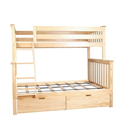 Amazon Com Max Lily Solid Wood Twin Over Full Bunk Bed With Under