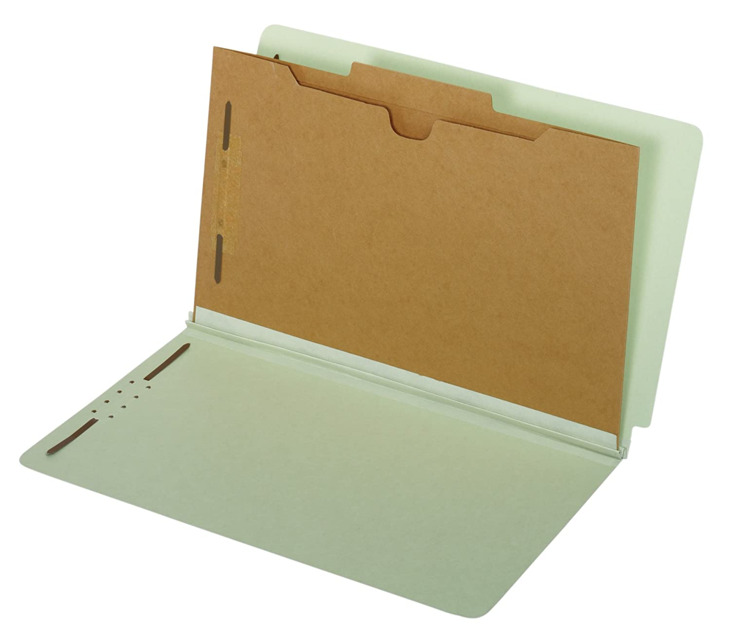 Globe-Weis End Tab Classification Folders, 1 Pocket Divider, 2-Inch Embedded Fasteners, Legal Size, Light Green, 10 Folders Per Box (39700)