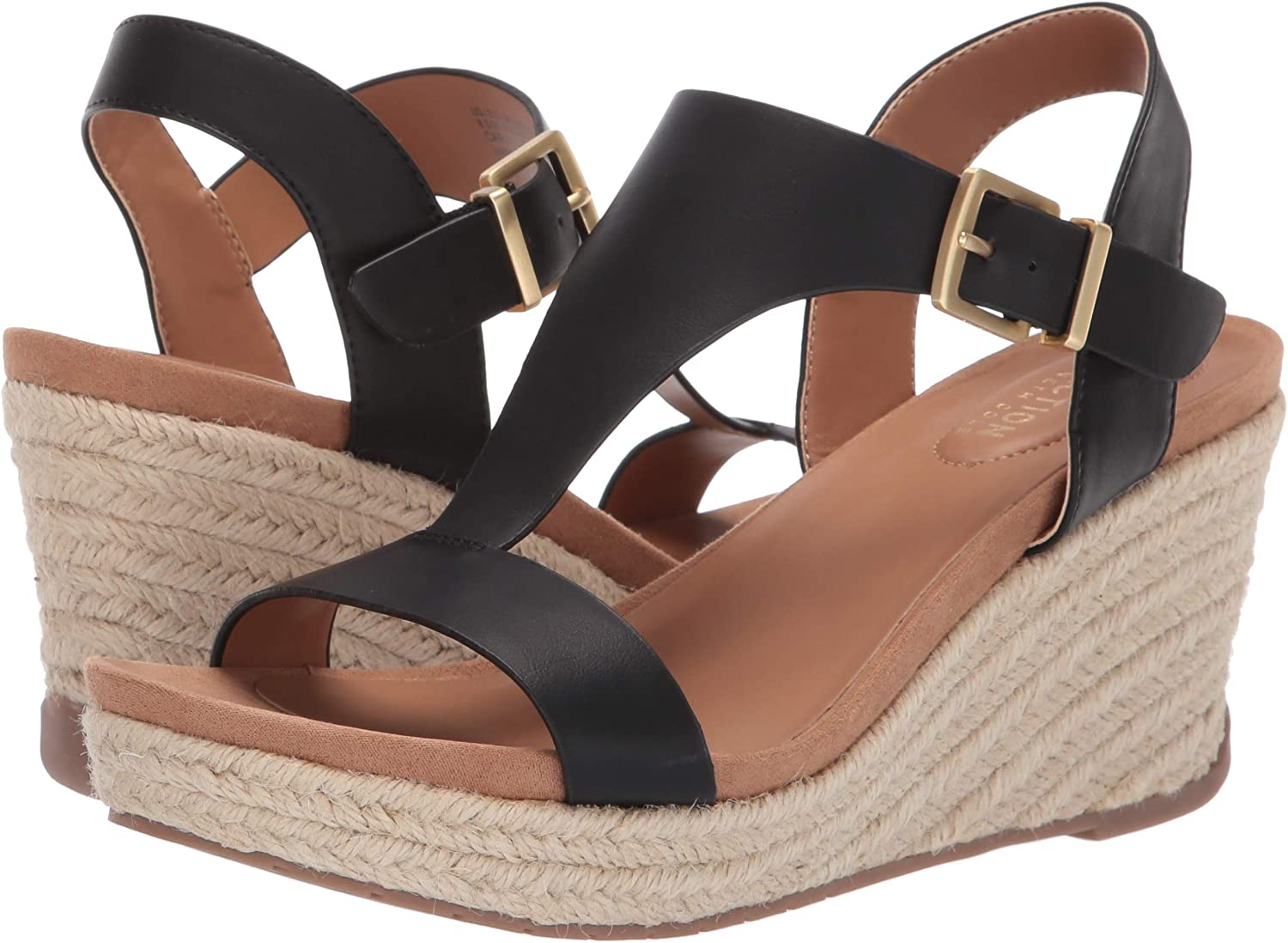 Kenneth Cole REACTION Womens Card Wedge T-Strap Espadrille Sandal