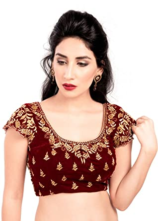 40ac3694767c63 Amazon.com  Elegant Maroon Velvet Ready-made Indian Saree Blouse - KP-46   Clothing