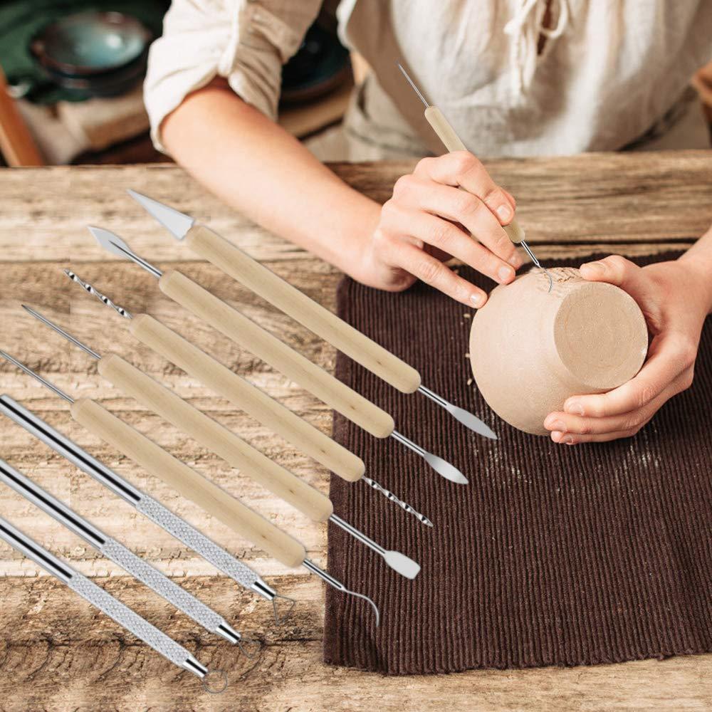 Strumento di Scultura di Argilla 14PCS Cera di Ceramica di Argilla di Legno Intaglio Modellazione Strumento di Scultura Fai da Te Arte Forniture con Sacchetto di Stoffa
