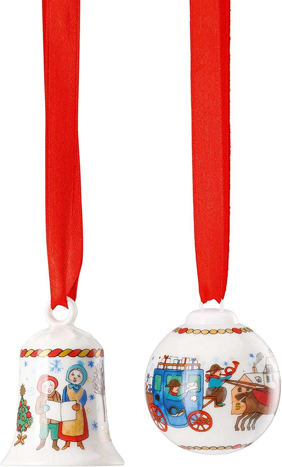 5 cm//Diameter 4.5 cm Limited to 2,999 Pieces Set Mini Bell//Mini Ball Porcelain Multi-Coloured Hutschenreuther Christmas Market II Height