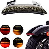 ANKIA 5 Wires Motorcycle Chopped Rear Fender Edge LED Brake License Plate Tail Light Stop Running Light Turn Signal Lamp for