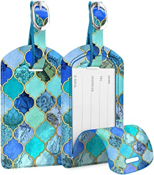 Set of 2 Sacred Geometry Luggage Tags Suitcase Labels Bag Travel Accessories