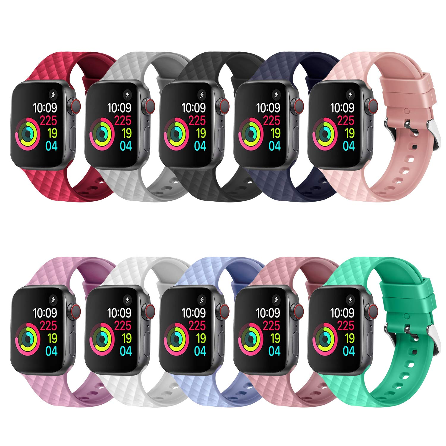 JIELIELE Compatible with 38mm 42mm Apple Watch Band Sport Silicone Replacement Wristband Women Man Strap for iWatch Series 4/3/2/1 (10PCS, 38mm) by JIELIELE
