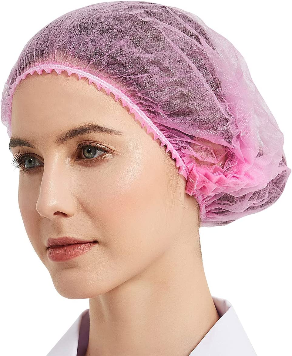 "ProtectX Disposable Bouffant (Hair Net) Caps Hair Head Cover Nets 21"" (Pink 100 pack)"