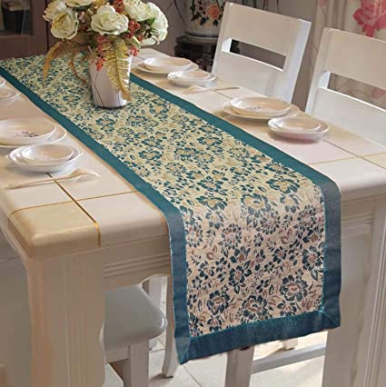 Lushomes Blue Jacquard Design 4 Table Runner Polyester Border (Size: 16x72), Single Piece
