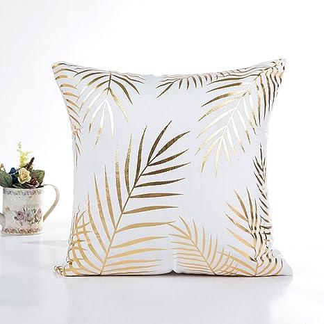 LEEDY - Funda de cojín para sofá, Cintura y decoración del hogar, Color Dorado, poliéster, D, Medium