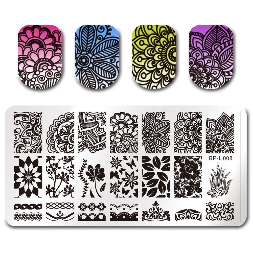 Plantillas Born Pretty para esmaltes de estampado para uñas, con ...