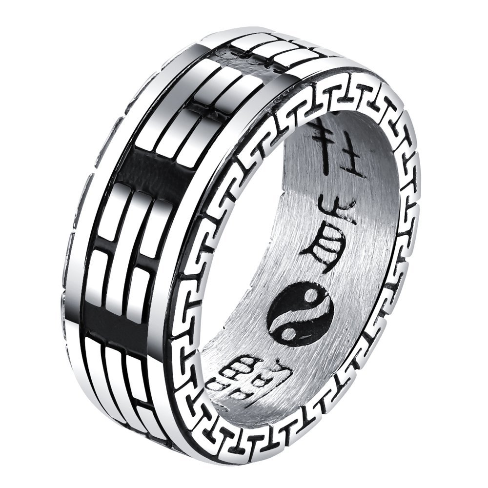 Onefeart Stainless Steel Ring For Men Boy Taoism Style Eight-Diagram Tactics Lucky Ring Silver US Size 9