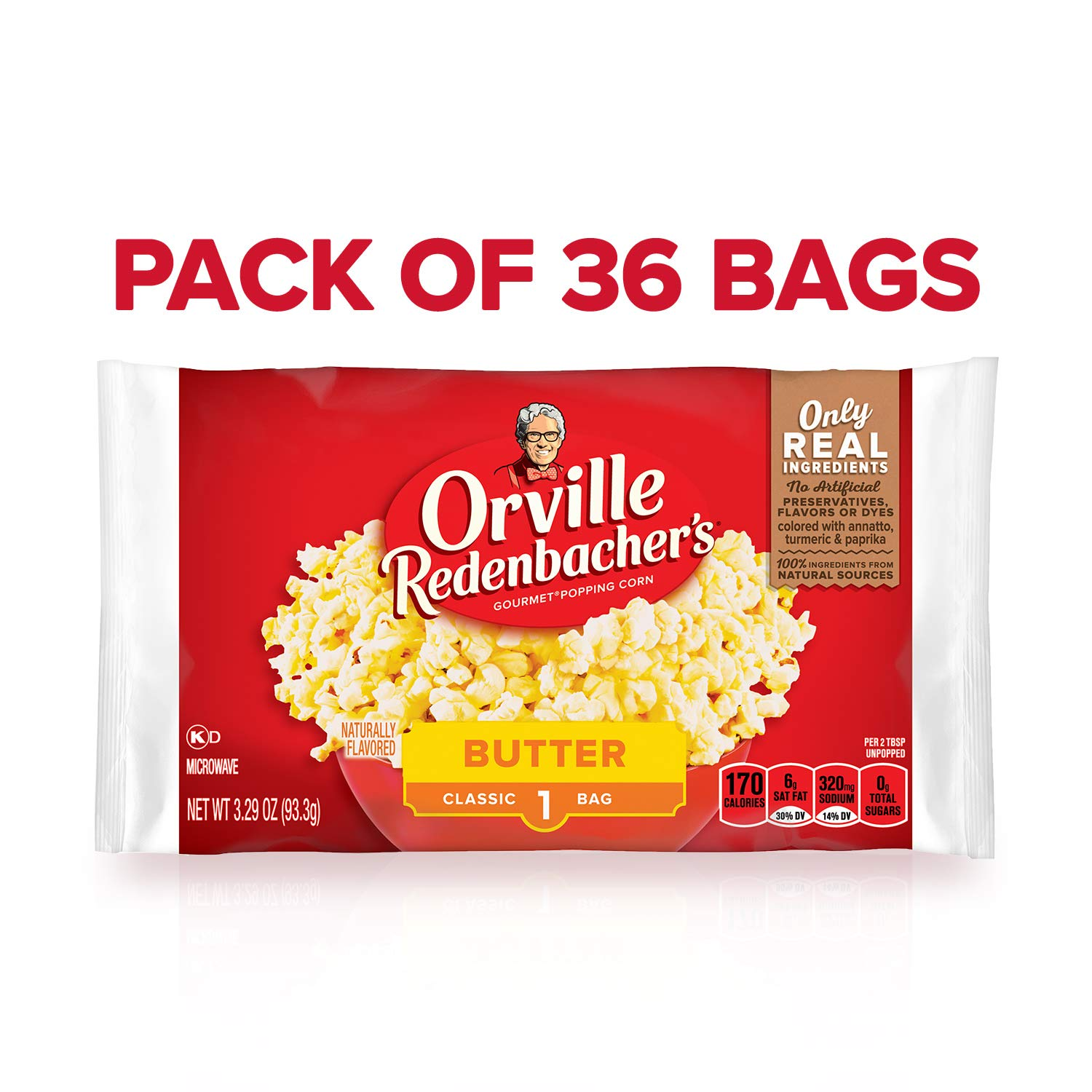 Orville Redenbacher's Butter Popcorn, 3.29 Ounce Classic Bag, Pack of 36 by Orville Redenbacher's
