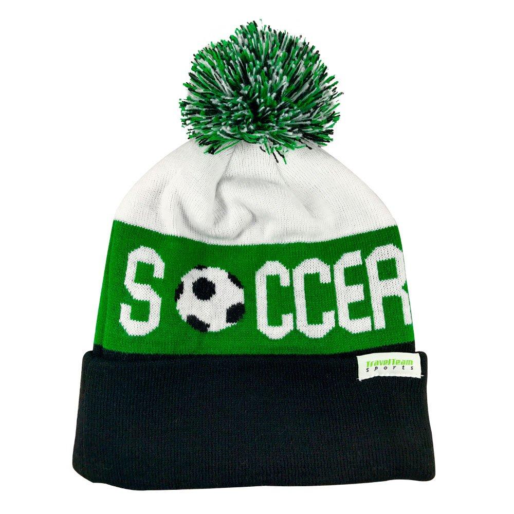 TravelTeamSports Pom Pom Youth/Teen Knitted Fleece Lined Beanie Hats w/Soccer logo