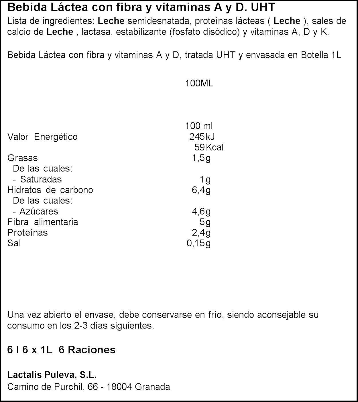 Puleva Bebida Láctea con Fibra - Paquete de 6 botellas x 1 L - Total 6 L: Amazon.es: Alimentación y bebidas