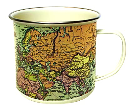 4bc49e72624 Amazon.com | Gift Republic Map Enamel Mug, Multicolor: Coffee Cups ...