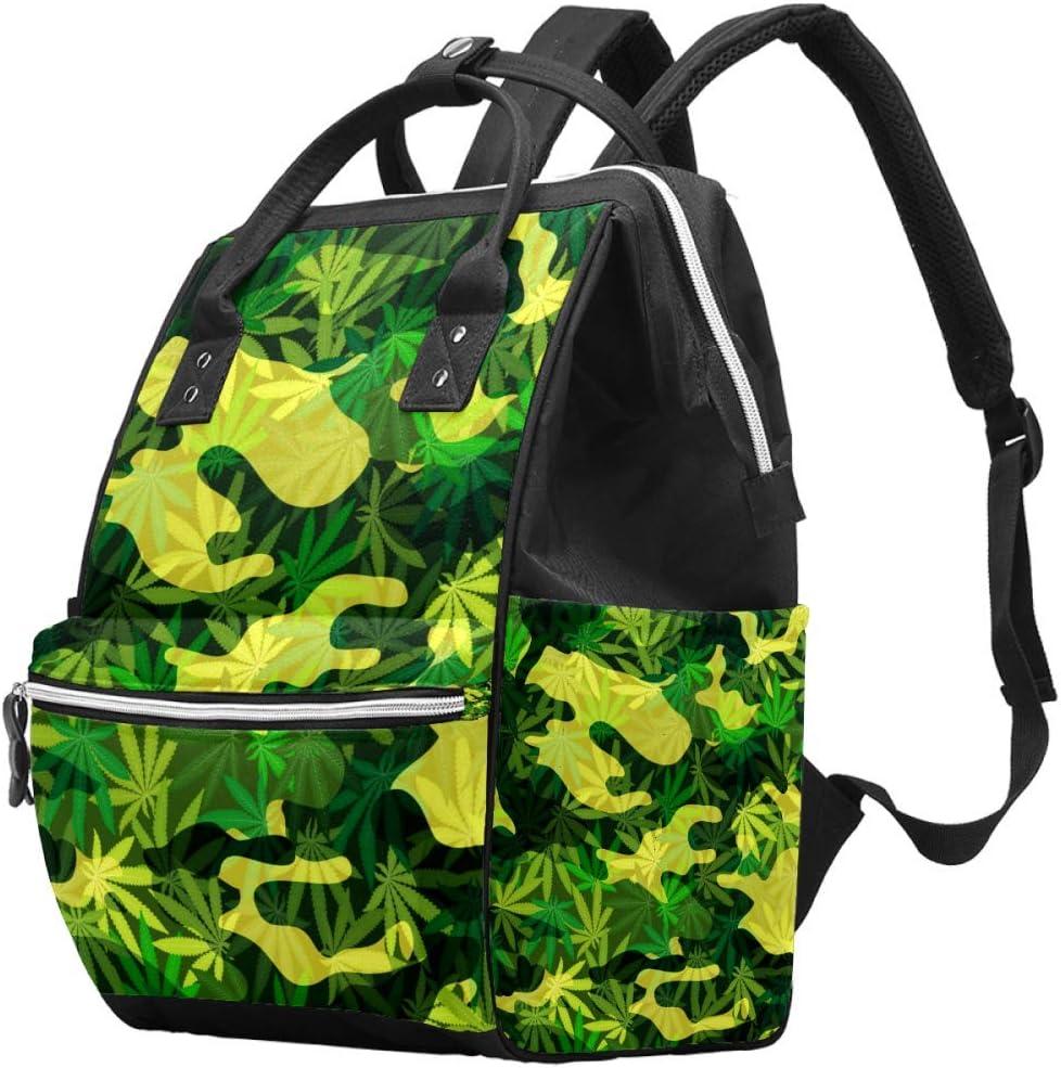 Bennigiry - Bolsa para pañales de marihuana, diseño de hojas de marihuana, gran capacidad