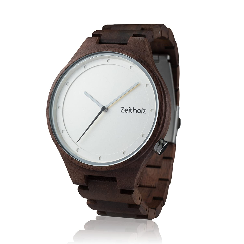 Reloj de madera ZEITHOLZ - Stolpen - 100% de Madera de nogal - Producto Natural - Hipoalergénico - Sostenible - Esfera Blanca - Reloj de pulsera en madera ...
