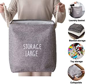 Fabric Storage Basket, Collapsible Storage Organizer Bins, 14.17-Inches Large Rectangle Linen Basket Well-Holding UpgradeCloset Laundry Hamper Basket, for Storage Clothes and Toys in Bedroom, Bathroom