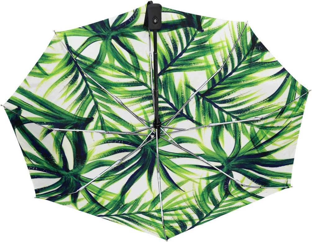 MAPOLO Tropical Green Leaves Print Windproof Rain Travel Canopy 3 Folds Auto Open Close Button Umbrella